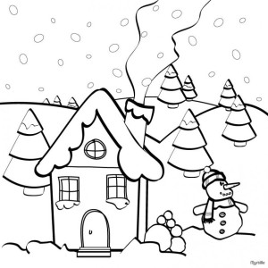plansa-de-colorat_om-de-zapada-si-casuta-iarna
